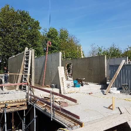 1ste fase betonwanden gelijkvloers